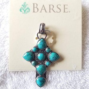 New Barse turquoise stone cross necklace pendant